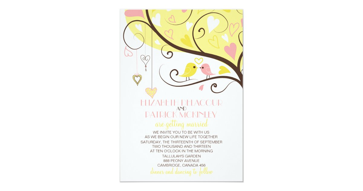 Yellow and Pink Love Birds Wedding Invitation | Zazzle.com