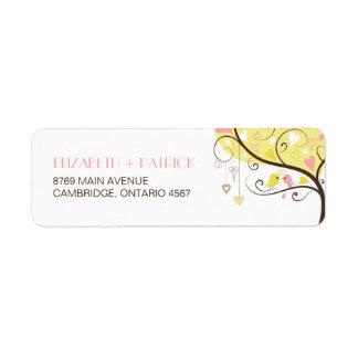 Yellow and Pink Lovebirds Wedding Address Label