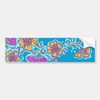 Yellow and Pink Mehndi Flowers Car Bumper Sticker