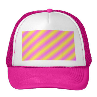 Yellow and Pink Neon Sideway Lines Trucker Hat
