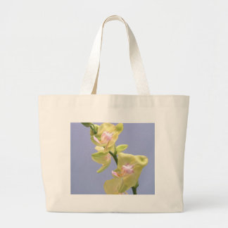 Yellow and Pink Orchids on Lavender Large Tote Bag