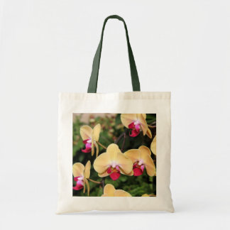 Yellow and Pink Orchids Tote Bags