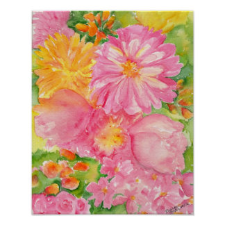 Yellow and Pink Peonies Bouquet Print