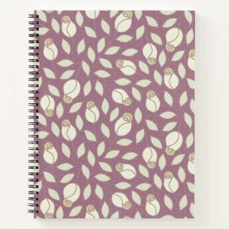 Yellow And Pink Plum Rosebud Pattern Notebook