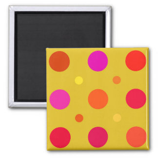Yellow and Pink Polka Dots 2 Inch Square Magnet