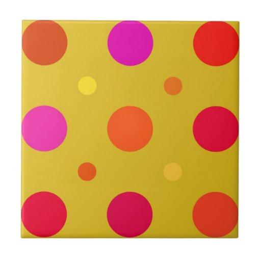 Yellow and Pink Polka Dots Ceramic Tiles
