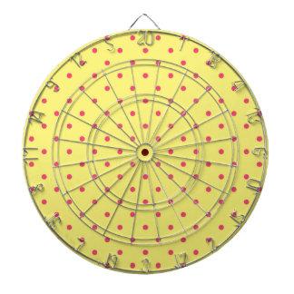 Yellow and Pink Polka Dots Pattern Dartboard With Darts