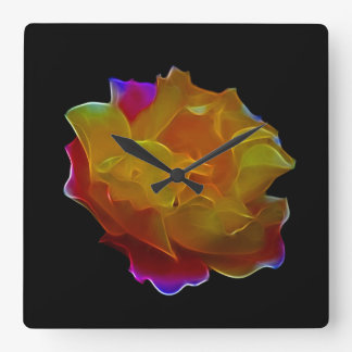 Yellow and pink rose and meaning square wall clock
