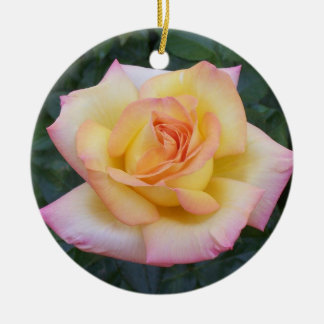 Yellow and Pink Rose Ceramic Ornament