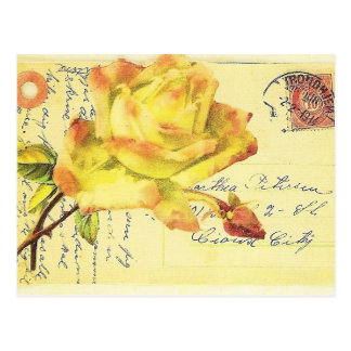 Yellow and Pink Rose Stamped Postcard