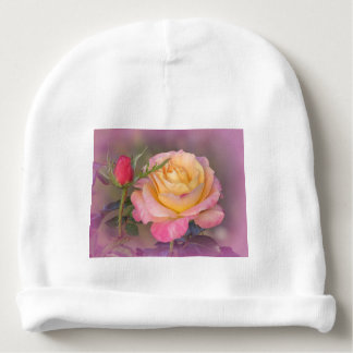Yellow and Pink Roses Baby Beanie