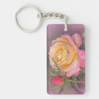 Yellow and Pink Roses Keychain
