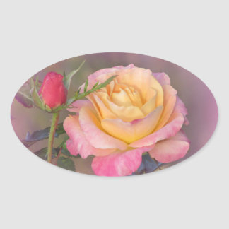 Yellow and Pink Roses Oval Sticker