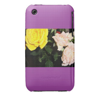 yellow and pink roses purple edition iPhone 3 case