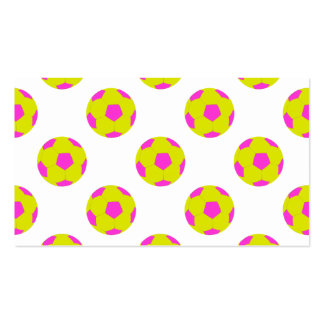 Yellow and Pink Soccer Ball Pattern Business Card
