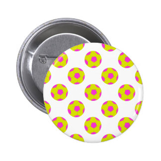 Yellow and Pink Soccer Ball Pattern Pinback Buttons