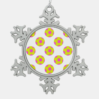 Yellow and Pink Soccer Ball Pattern Snowflake Pewter Christmas Ornament