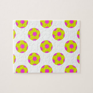 Yellow and Pink Soccer Ball Pattern Puzzle