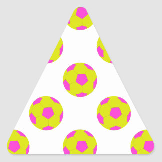 Yellow and Pink Soccer Ball Pattern Triangle Sticker