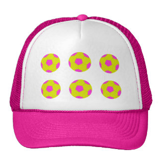 Yellow and Pink Soccer Ball Pattern Trucker Hat