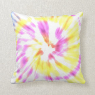 Yellow and Pink Tie Dye Throw Pillow