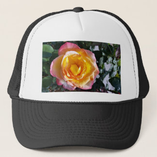 yellow and pink trucker hat
