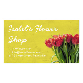 Yellow and Pink Tulips Florist Business Card