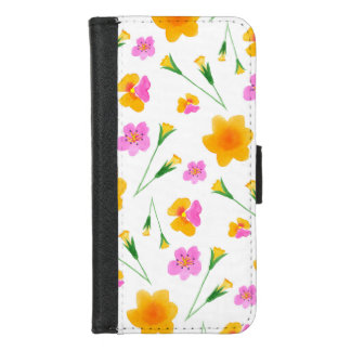 Yellow and Pink Watercolor Flowers iPhone 8/7 Wallet Case