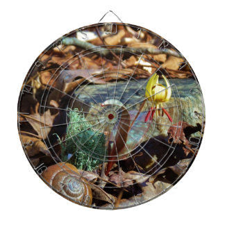 Yellow and Plum Trout Lily and Snail Shell Dart Board
