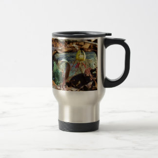 Yellow and Plum Trout Lily and Snail Shell Travel Mug