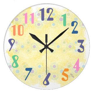Yellow and Polkadots Large Clock