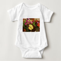 Yellow and Purple and Orange Flowers Bouquet Baby Bodysuit