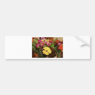 Yellow and Purple and Orange Flowers Bouquet Bumper Sticker