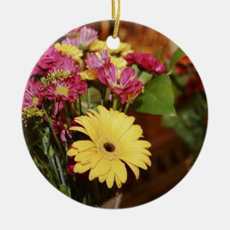 Yellow and Purple and Orange Flowers Bouquet Ceramic Ornament