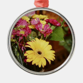Yellow and Purple and Orange Flowers Bouquet Metal Ornament