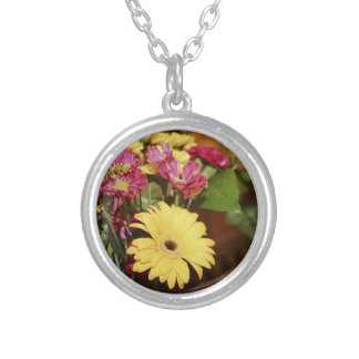 Yellow and Purple and Orange Flowers Bouquet Necklace