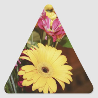 Yellow and Purple and Orange Flowers Bouquet Triangle Sticker