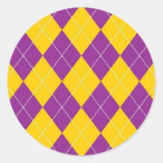 Yellow and Purple Argyle Pattern Classic Round Sticker