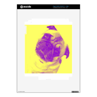 Yellow and purple artist-inspired pug print decals for iPad 2
