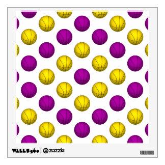 Yellow and Purple Basketball Pattern Wall Sticker