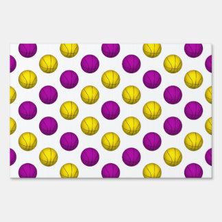 Yellow and Purple Basketball Pattern Sign