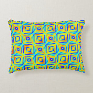 Yellow and Purple Blue Pattern Accent Pillow