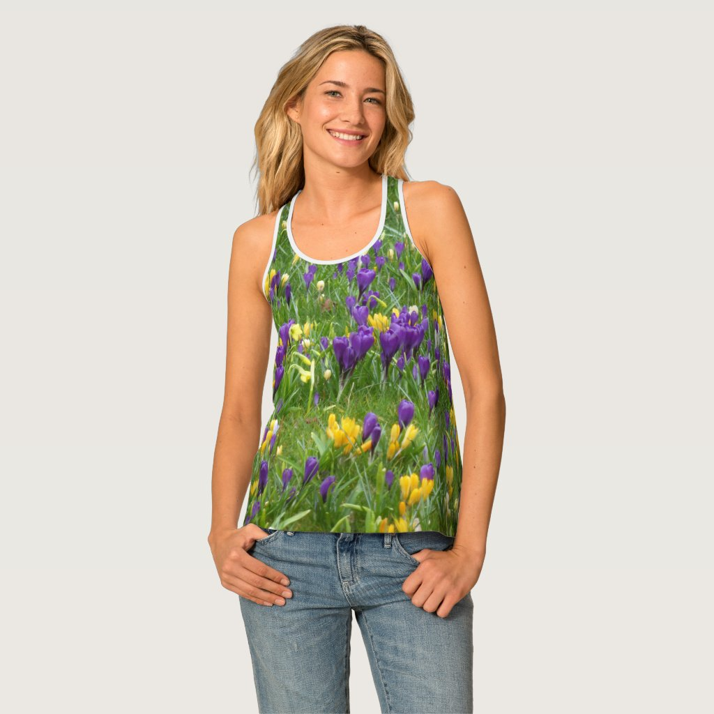 Yellow and Purple Crocuses All-Over Print Tank Top