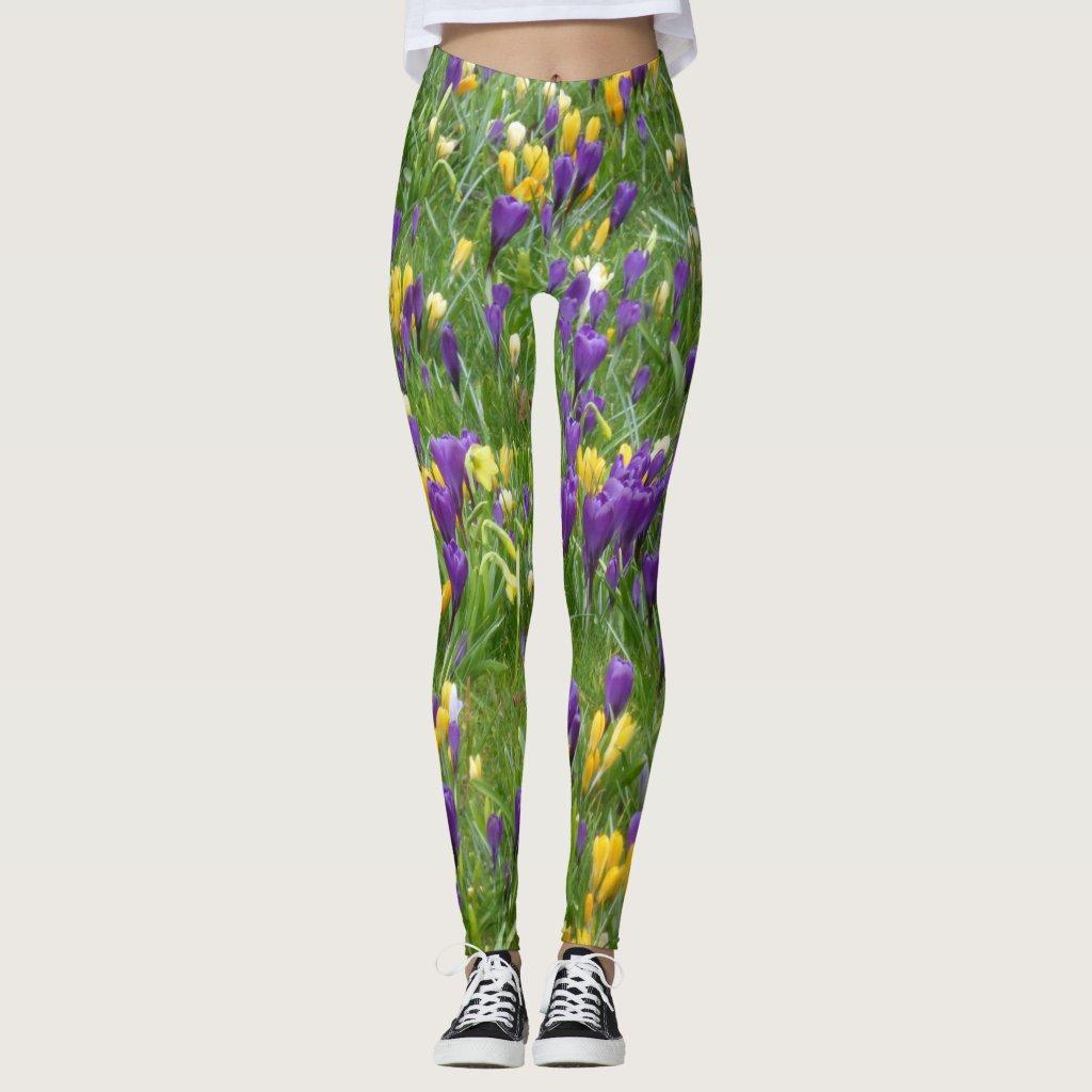 Yellow and Purple Crocuses Leggings