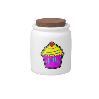 Yellow and Purple Cupcake with Cherry On Top Candy Dishes
