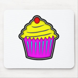 Yellow and Purple Cupcake with Cherry On Top Mouse Pad