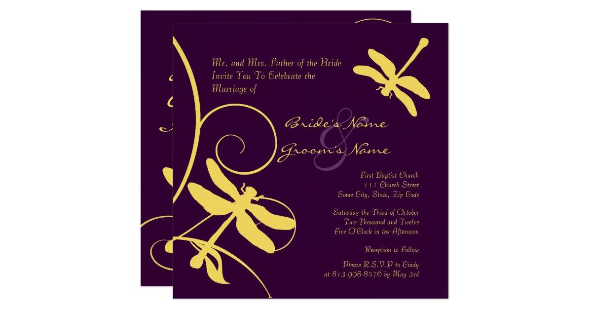 Yellow And Purple Dragonfly Wedding Invitation