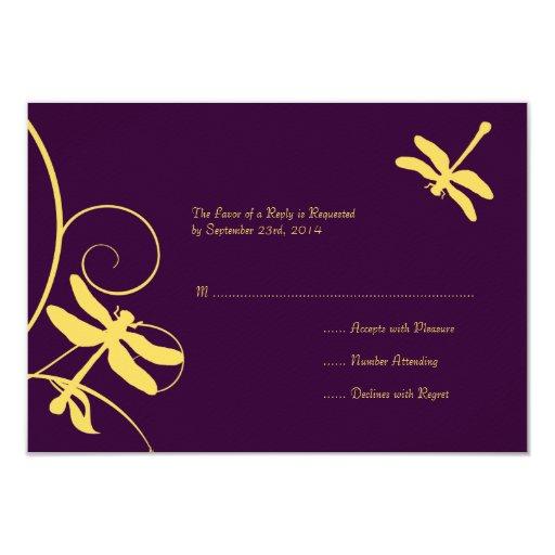 Yellow And Purple Dragonfly Wedding RSVP 35 X 5 Invitation Card