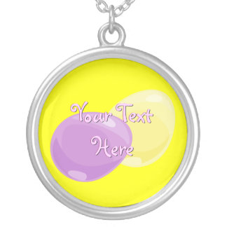 Yellow and Purple Easter Eggs Necklace