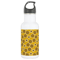 Yellow and Purple Floral Pattern Water Bottle